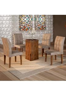 Conjunto De Mesa De Jantar Havana Com 4 Cadeiras Vitória Veludo Chocolate