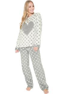 Pijama Any Any Heart Branco/Cinza