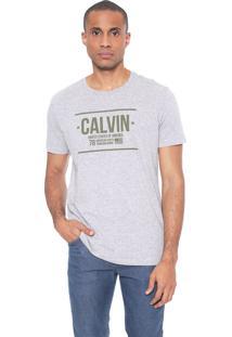 Camiseta Calvin Klein Lettering Cinza