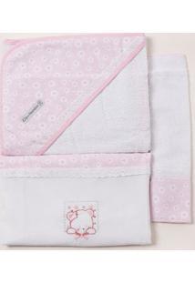 Jogo De Banho Com Bordado Infantil Para Bebê - Rosa