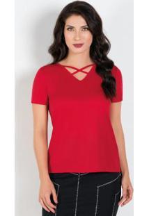 Blusa Com Manga Curta Vermelha Moda Evangélica