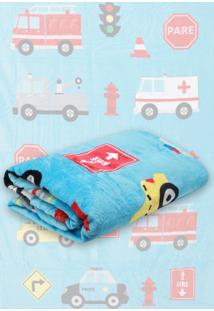 Cobertor Solteiro Lepper Truck Azul 1,50 X 2,20