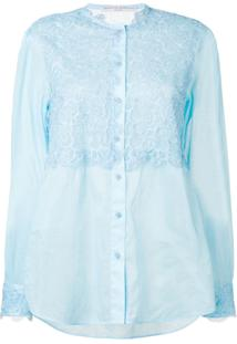 Ermanno Scervino Blusa Com Recorte De Renda - Azul