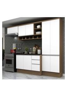Cozinha Completa Compacta Com Armário E Balcáo Com Tampo Hollywood Multimóveis Nogueira/Branco