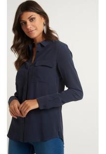 Camisa Le Lis Blanc Lucia 6 Netuno Seda Azul Feminina (Netuno 19-3924, 48)