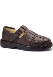 Sandália Masculina 306 Em Couro Floater Doctor Shoes - Masculino-Café