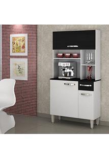 Armário De Cozinha 3 Portas Jaspe Sallêto Móveis Branco/Preto Fosco