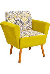 Poltrona Decorativa D'Rossi Dora Estampado D77 Com Suede Amarelo