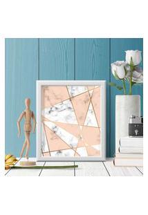 Quadro Decorativo Com Moldura Marble Branco - 20X30Cm