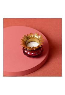 Luminária Porta-Vela Ferro Vidro Cor: Rosa - Tamanho: Único