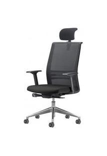 Cadeira Agile Presidente Com Encosto De Cabeca Assento Crepe Preto Base Aluminio Piramidal E Rodizio Em Pu - 55710 Preto