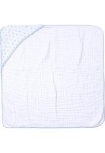 Toalha De Banho Papi Soft Com Capuz- Branca & Azul- Papi