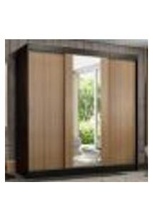 Guarda-Roupa Casal Madesa Reno 3 Portas De Correr Com Espelho - Preto/Rustic