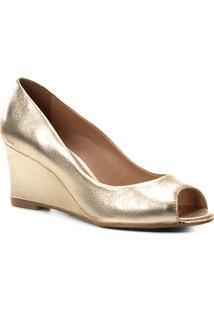 Peep Toe Couro Shoestock Anabela Metalizado - Feminino-Dourado