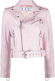 Off-White Jaqueta Biker Liquid Melt - Rosa