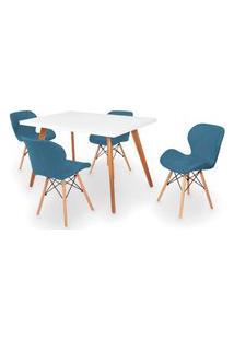 Conjunto Mesa De Jantar Gih 120X80Cm Branca Com 4 Cadeiras Slim - Turquesa