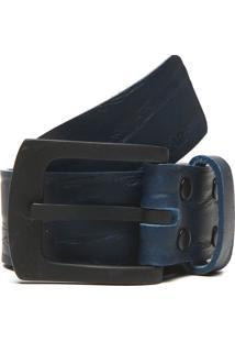 Cinto Couro Polo Wear Textura Azul