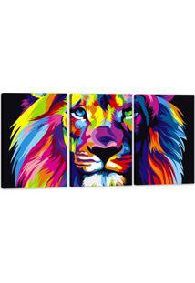 Quadro Oppen House 60X120Cm Leão Colorido Animais Decorativo Interiores