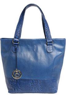 Bolsa Em Couro Com Bag Charm- Azul & Dourada- 31,5X3Di Marlys