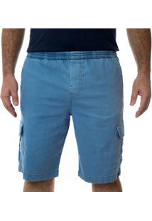 Bermuda Jeans California Prime Elástico Azul Claro