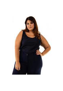Blusa Clarice Plus Size Azul Marinho Rodrigo Moura