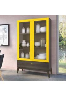 Cristaleira 2 Portas De Vidro E 1 Gaveta 0810 Com Pés Palito Demolição/Amarelo - Genialflex