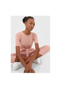 Blusa Tricot Facinelli By Mooncity Textura Rosa