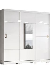 Guarda Roupa Casal Com 3 Portas De Correr Silver-Henn - Branco