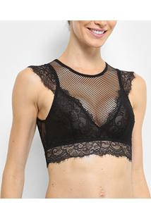 Sutiã Hope Top Cropped Rendado - Feminino-Preto