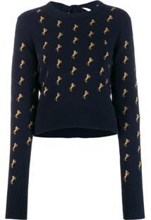 Chloé Suéter Com Bordado - Azul