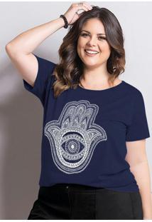 T-Shirt Marguerite Marinho Plus Size