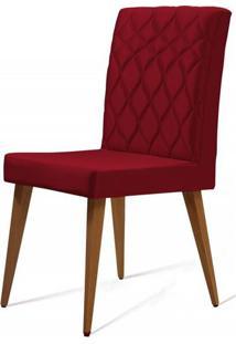 Cadeira Ouros Vermelha Base Castanho - 50474 - Sun House