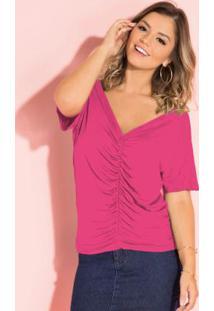 Blusa Pink Com Drapeado Frontal E Decote V
