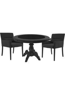 Mesa De Jogos Carteado Montreal Redonda Tampo Reversível Preto Com 2 Cadeiras Vicenza Preto Fosco - Gran Belo