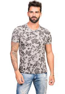 Camiseta Tony Menswear Estampa Folhagem 100% Algodão Cinza