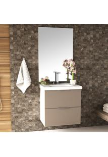 Conjunto Para Banheiro Gabinete Com Cuba E Espelheira 60Cm Pietra Móveis Bosi Branco/Gianduia Brilho