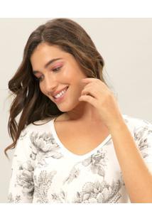 Blusa Decote V Ecológica Branco Off White - Lez A Lez