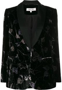 Diane Von Furstenberg Floral Velvet Blazer - Preto