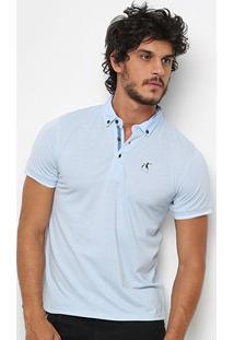 Camisa Polo Hereford Detalhe Estampado Masculina - Masculino-Azul Claro
