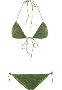 Oseree Halter Neck Metallic Threaded Bikini - Verde