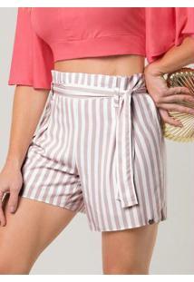 Shorts Tecido Estampado Acompanha Cinto Rosa