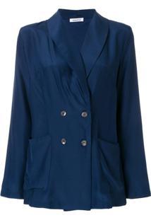 P.A.R.O.S.H. Blazer De Seda Com Abotoamento Duplo - Azul
