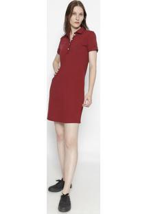 Vestido Com Bordado Frontal- Vermelho Escuro & Azul Mariclub Polo Collection