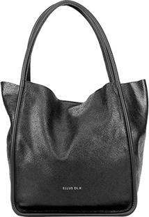 Bolsa Couro Ellus Shopper Bag Dlx Feminina - Feminino-Preto