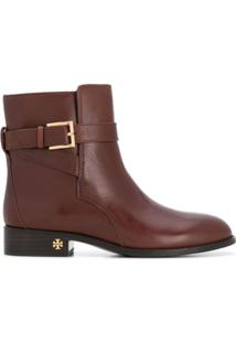 Tory Burch Ankle Boot 'Brooke' De Couro - Marrom