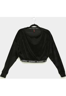 Camiseta Cropped Ecko Especial Manga Longa Feminina - Feminino-Preto