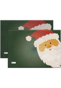 Jogo Americano Mdecore Papai Noel 40X28Cm Verde 2Pçs