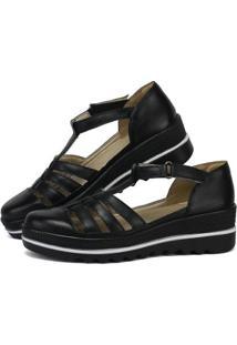 Sandália Plataforma Em Couro Sapatofran Com Velcro Feminina - Feminino-Preto
