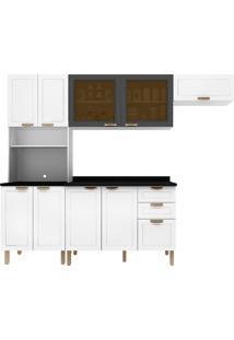 Cozinha Modulada 5 Peças Com Tampo E Nevada 5676Vdtp-Multimóveis - Branco Premium / Grafite Premium