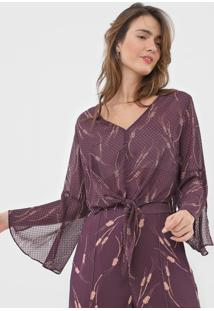 Blusa Cropped Maria Filã³ Trigo Roxa - Roxo - Feminino - Poliã©Ster - Dafiti